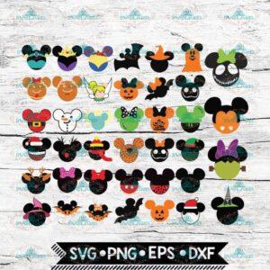 40 x Mickey Faces Svg, Mickey Svg, Bundle, Disney Svg, Mickey Halloween SVG, Christmas Mickey svg