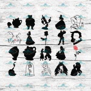Beauty And The Beast, Disney Princess Svg, Cricut File, Silhouette, Disney Svg, Cartoon Svg