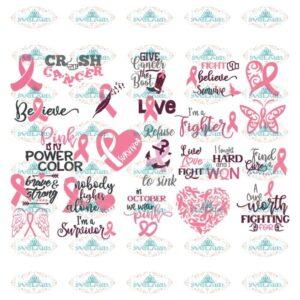 Breast Cancer Svg, Bundle, Cancer Awareness Svg, Cancer Svg, Cricut, Silhouette Cameo