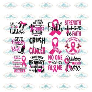 Breast Cancer Svg, Bundle, Cancer Awareness Svg, Cancer Ribbon Svg, Hope Svg, Faith Over Fear Svg, Cancer Svg 2