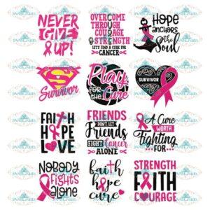 Breast Cancer Svg, Bundle, Cancer Awareness Svg, Cancer Ribbon Svg, Hope Svg, Faith Over Fear Svg, Cancer Svg 3