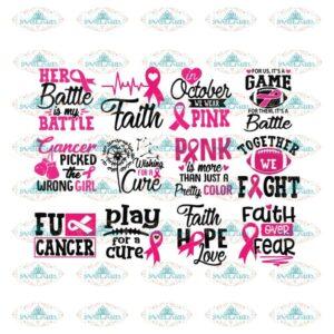 Breast Cancer Svg, Bundle, Cancer Awareness Svg, Cancer Ribbon Svg, Hope Svg, Faith Over Fear Svg, Cancer Svg