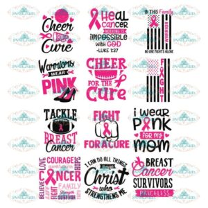 Breast Cancer Svg, Bundle, Cancer Awareness Svg, Cancer Ribbon Svg, Hope Svg, Faith Over Fear Svg, Cancer Svg 4