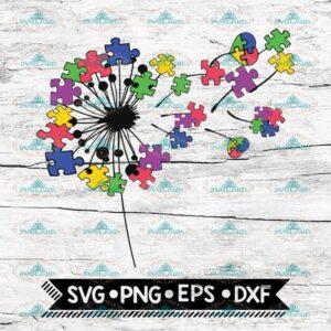 Dandelion Svg, Autism Svg, Autism Awereness Svg, Autism Mom Svg, Puzzle Piece Svg, Cricut File, Svg