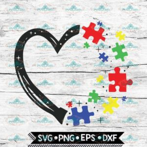 Heart with Puzzle Pieces Svg, Autism Awareness Svg, Autism Svg, Cricut File, Svg, Heart Svg