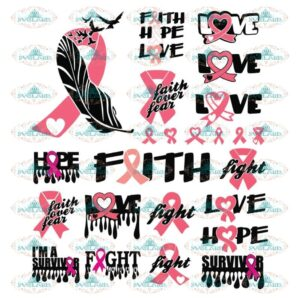 Pink ribbon, Bundle, Cricut File, Cancer Svg, Breast cancer, Swirly Butterfly svg, Survive svg, Drip, Cut Files