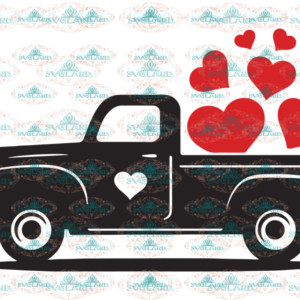 Valentine Truck Svg, Valentine's Day Svg, Red Truck with Heart Svg, Valentine Svg